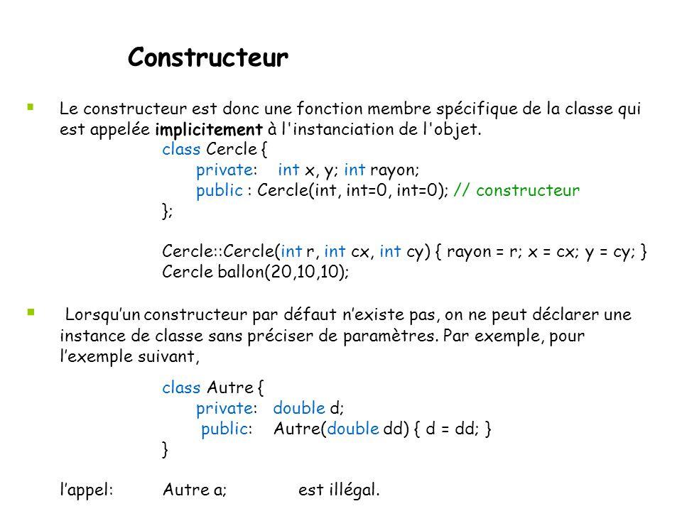 Constructeur Le constructeur est donc une fonction membre spécifique de la classe qui est appelée implicitement à l instanciation de l objet.