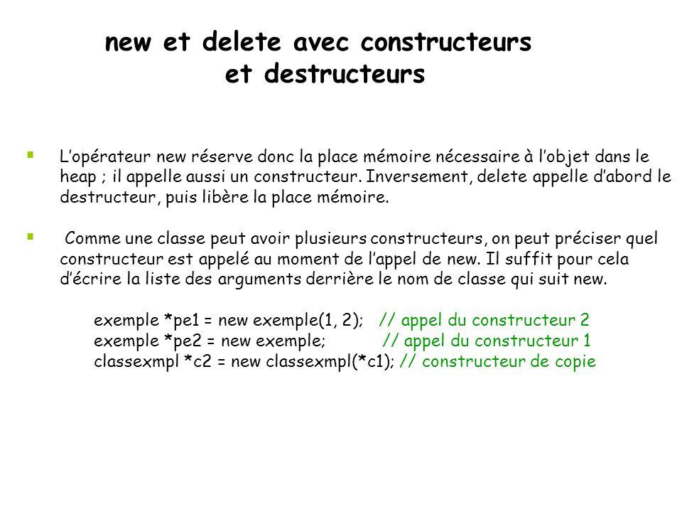 new et delete avec constructeurs