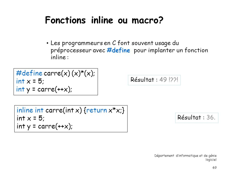 Fonctions inline ou macro