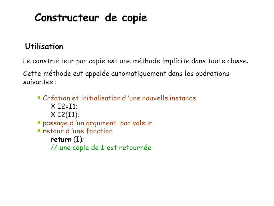 Constructeur de copie Utilisation