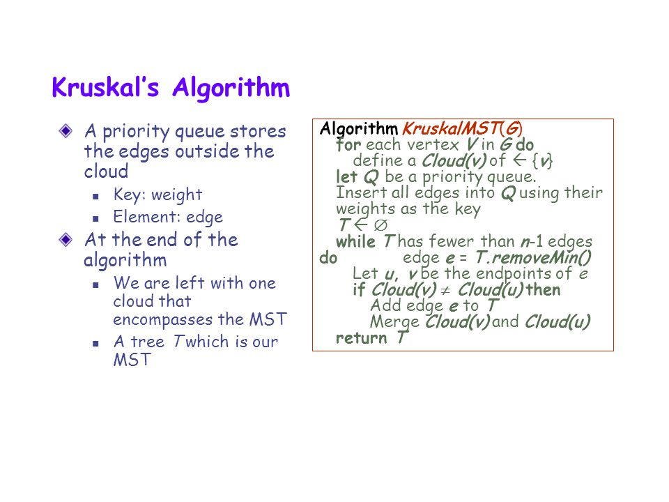 Kruskal's Algorithm A priority queue stores the edges outside the cloud. Key: weight. Element: edge.