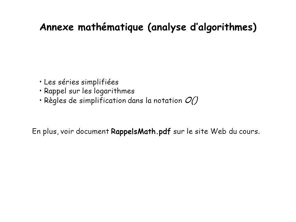 Annexe mathématique (analyse d'algorithmes)