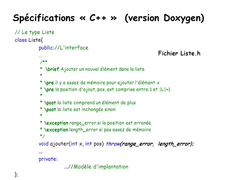 Spécifications « C++ » (version Doxygen)