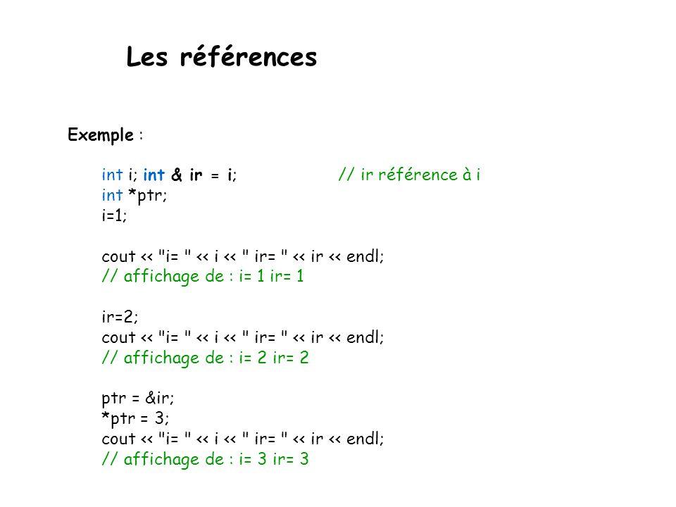 Les références Exemple : int i; int & ir = i; // ir référence à i