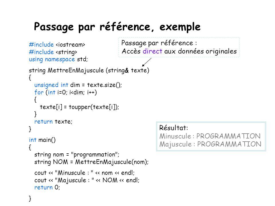 Passage par référence, exemple