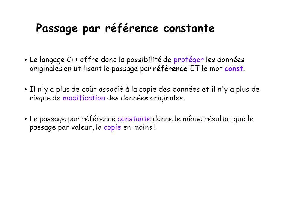 Passage par référence constante