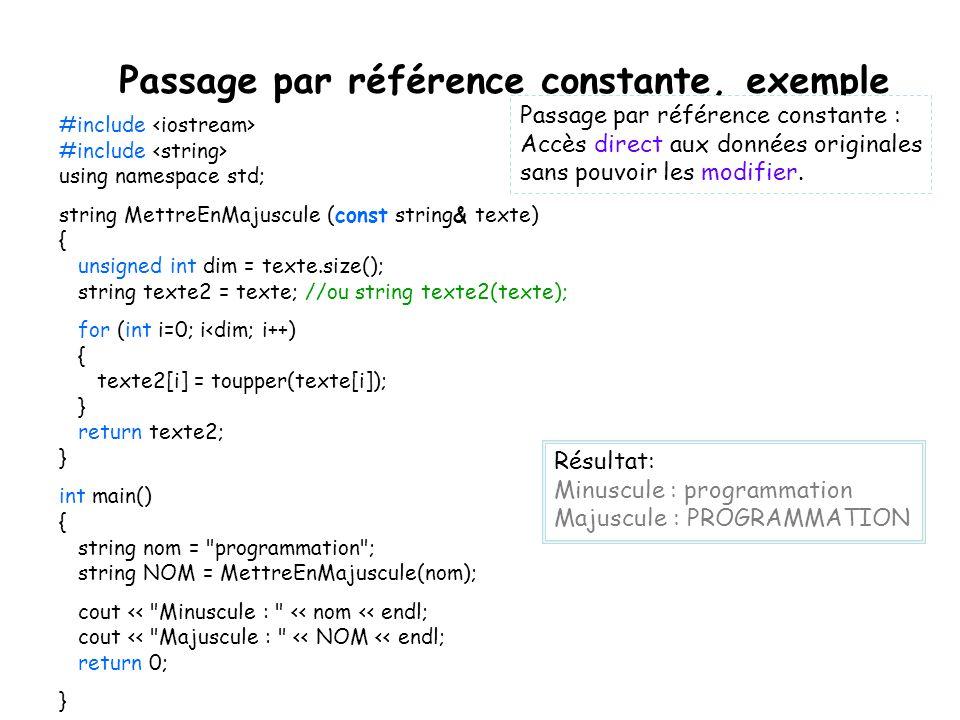 Passage par référence constante, exemple