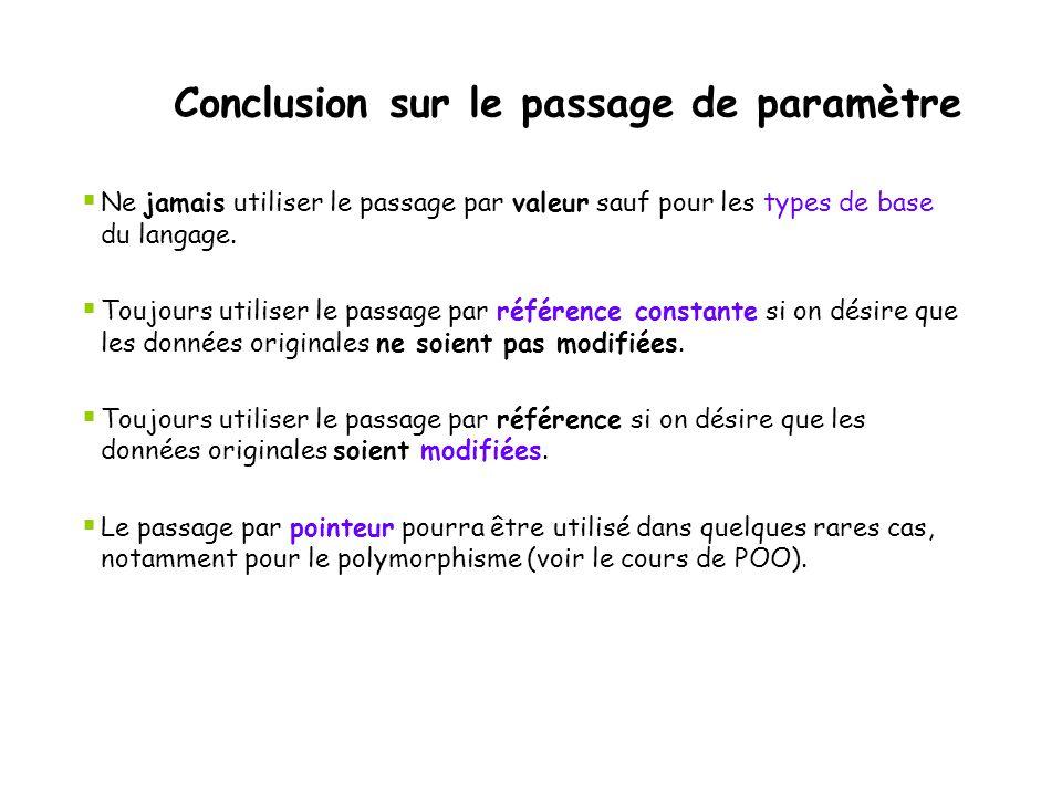 Conclusion sur le passage de paramètre
