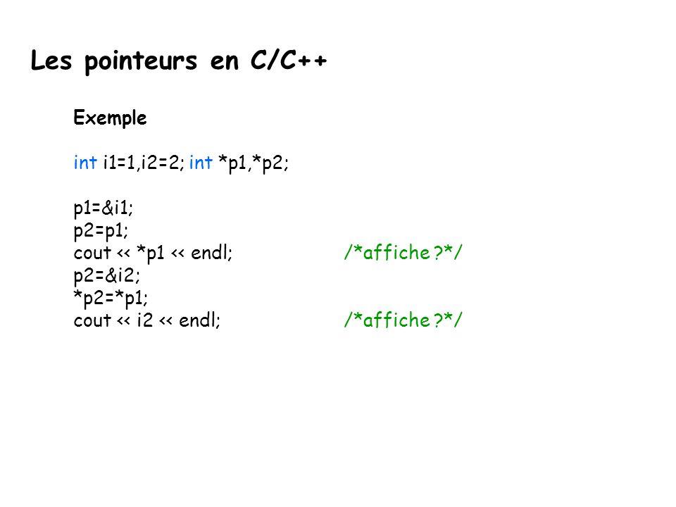 Les pointeurs en C/C++ Exemple int i1=1,i2=2; int *p1,*p2; p1=&i1;