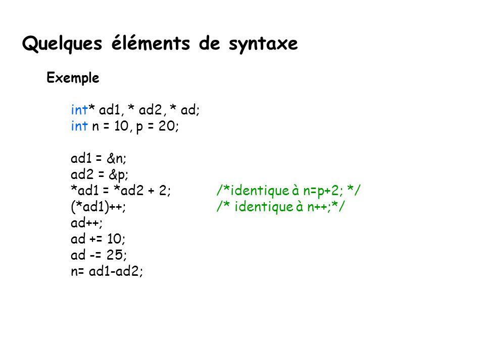 Quelques éléments de syntaxe