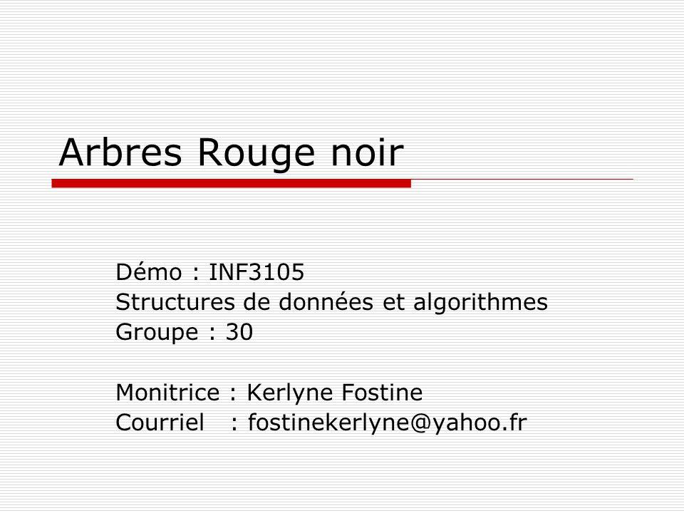 Arbres Rouge noir Démo : INF3105 Structures de données et algorithmes