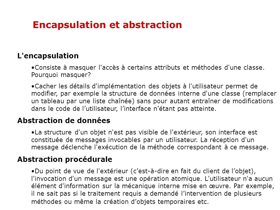 Encapsulation et abstraction