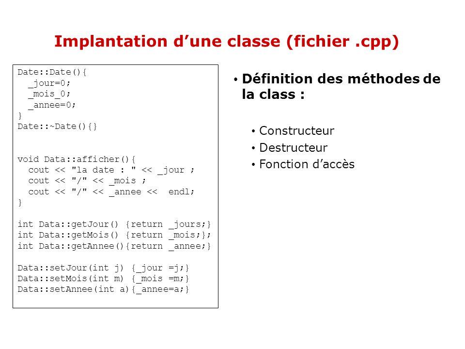 Implantation d'une classe (fichier .cpp)