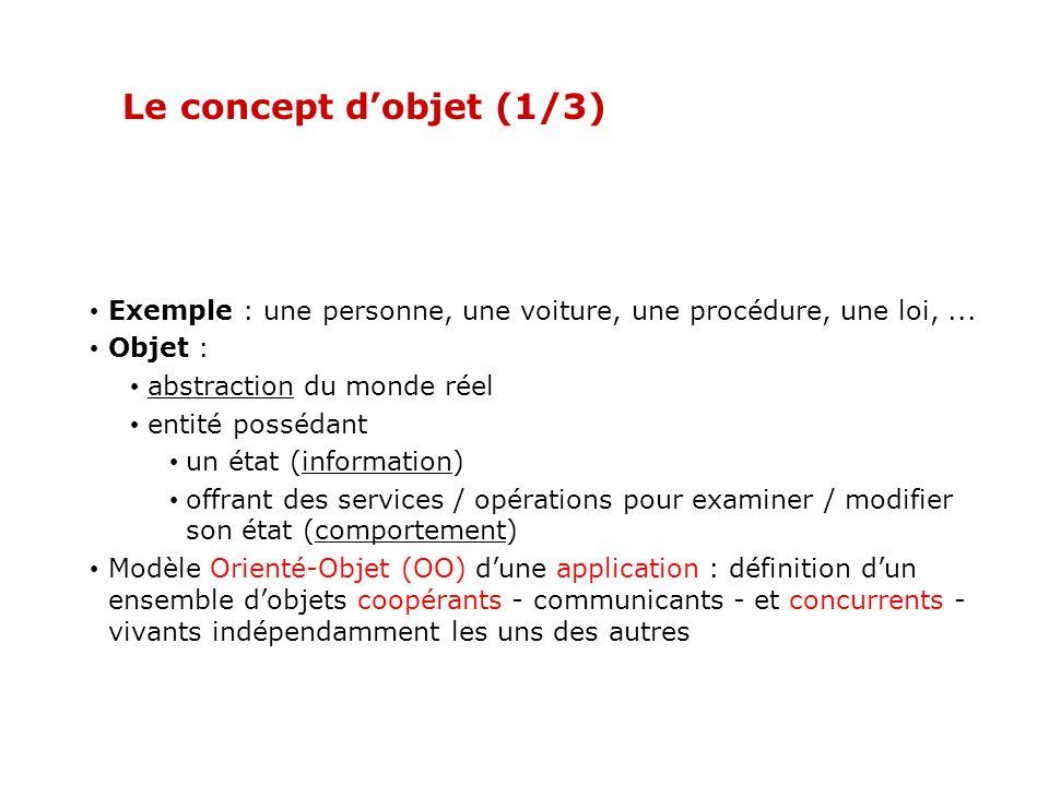 Le concept d'objet (1/3) Exemple : une personne, une voiture, une procédure, une loi, ... Objet : abstraction du monde réel.