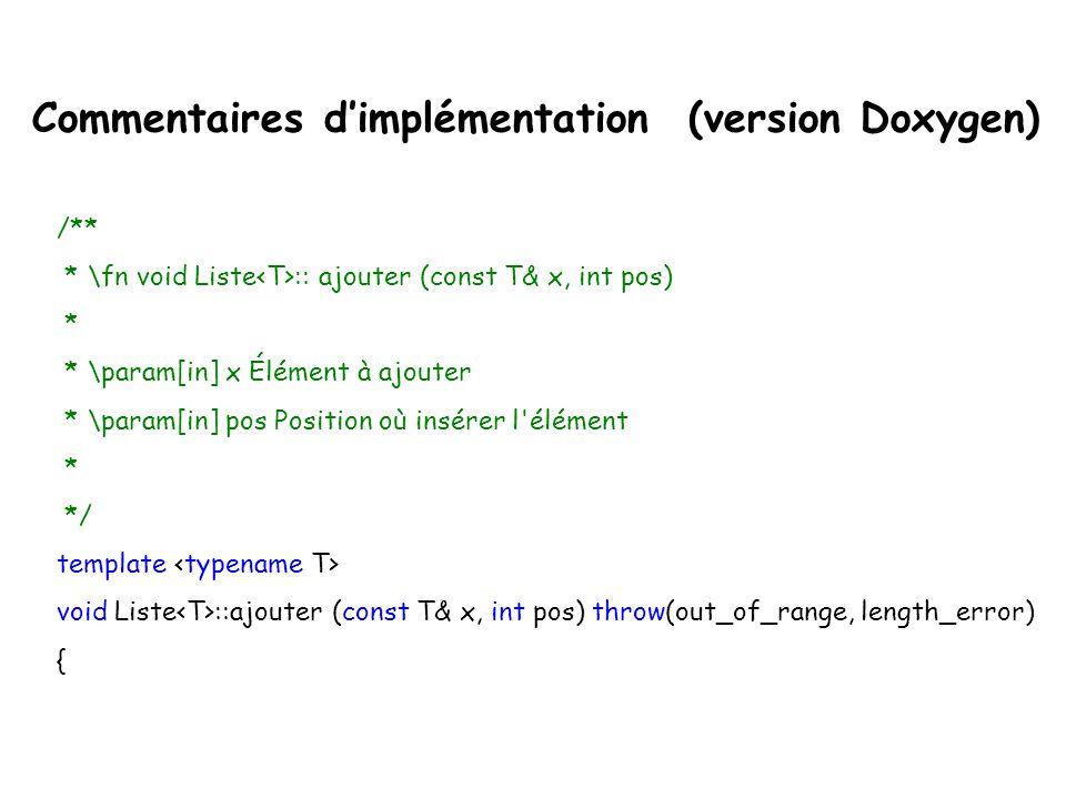 Commentaires d'implémentation (version Doxygen)