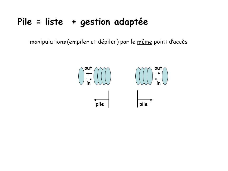 Pile = liste + gestion adaptée