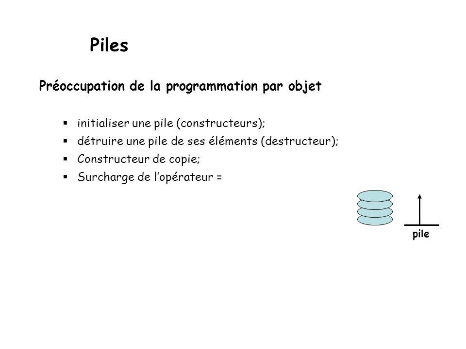 Piles Préoccupation de la programmation par objet
