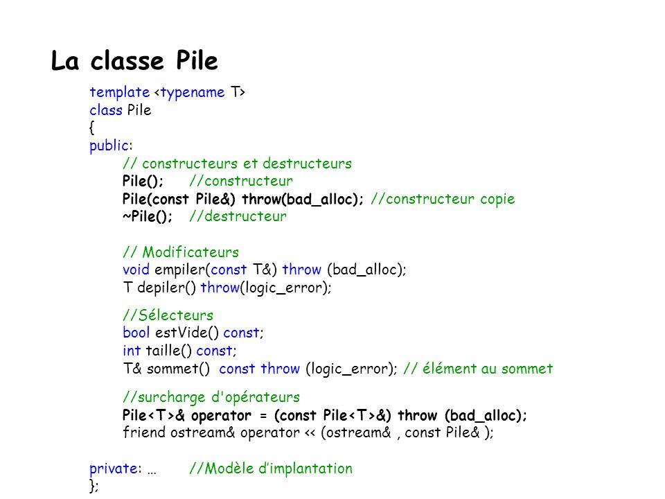 La classe Pile template <typename T> class Pile { public: