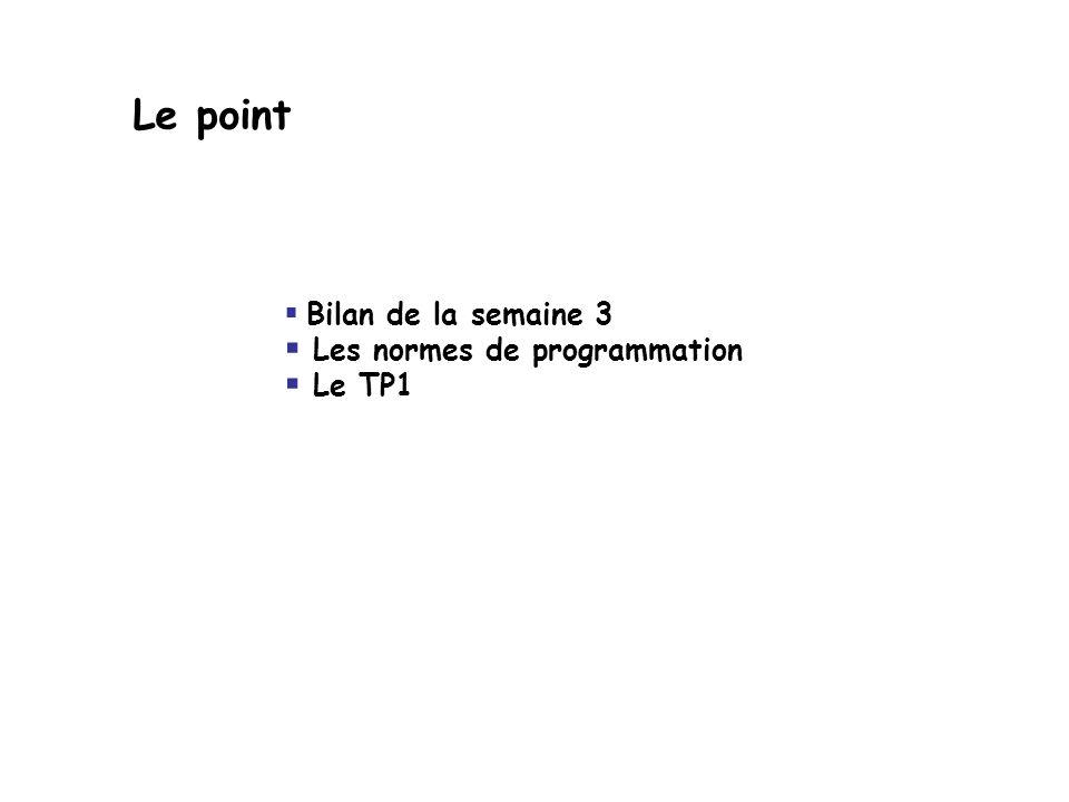Le point Bilan de la semaine 3 Les normes de programmation Le TP1