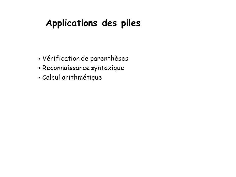 Applications des piles