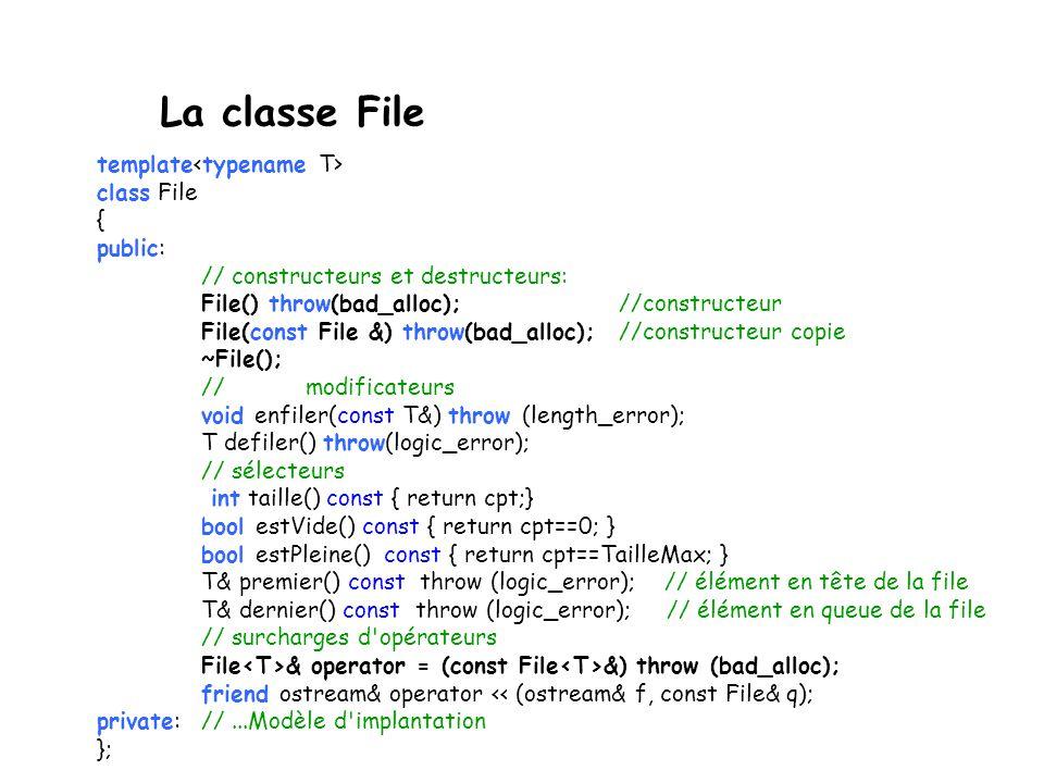 La classe File template<typename T> class File { public: