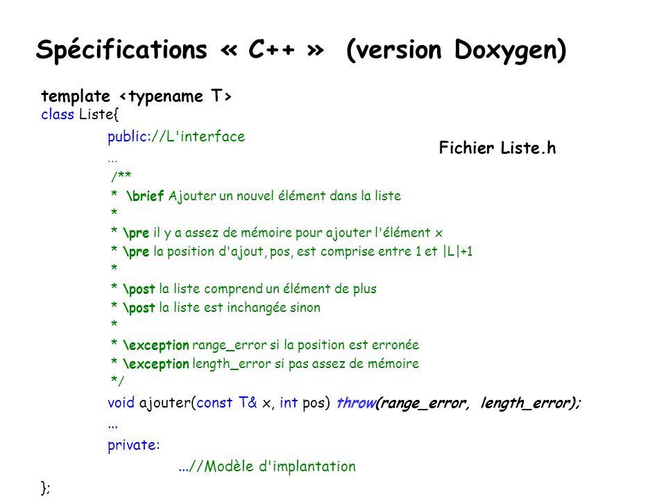 Spécifications « C++ » (version Doxygen)