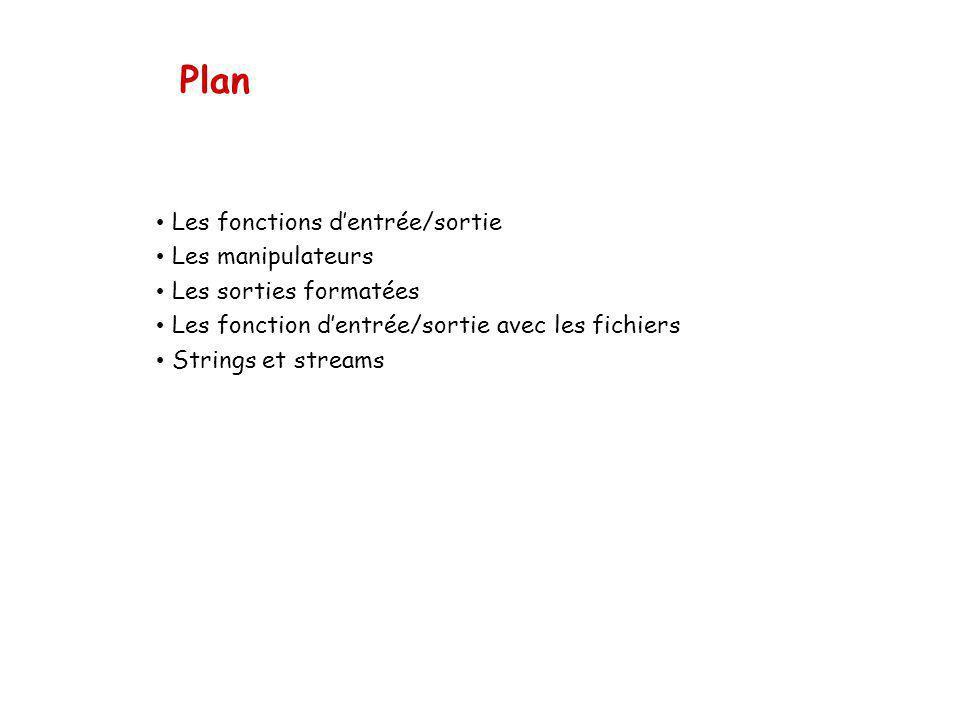 Plan Les fonctions d'entrée/sortie Les manipulateurs