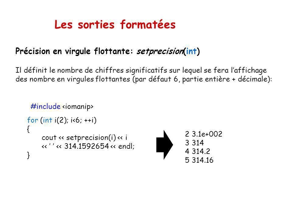 Les sorties formatées Précision en virgule flottante: setprecision(int)