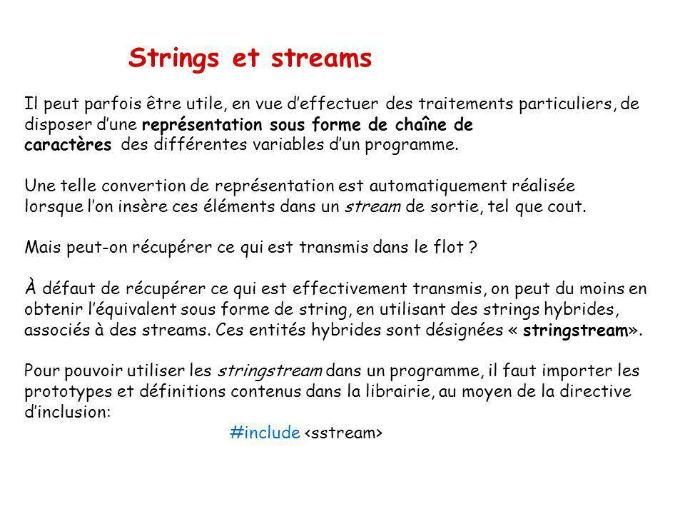 Strings et streams