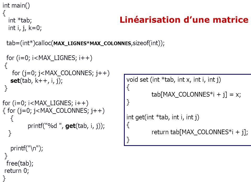 Linéarisation d'une matrice