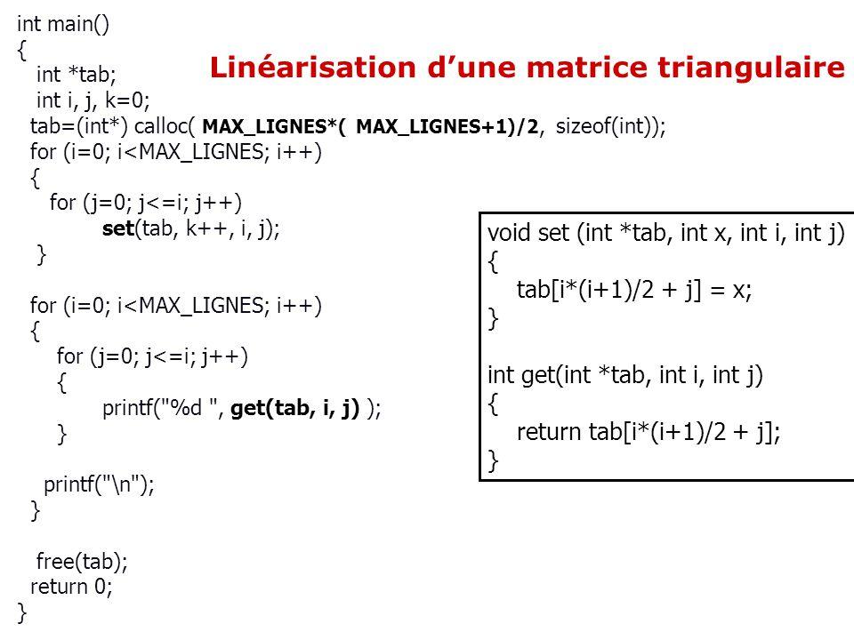 Linéarisation d'une matrice triangulaire
