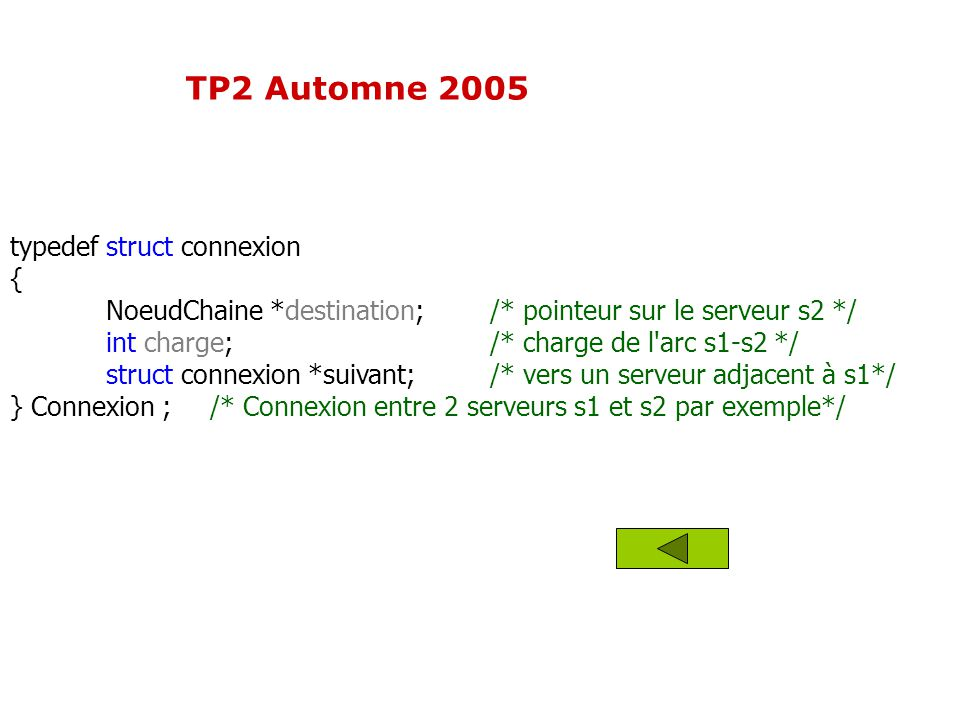 TP2 Automne 2005 typedef struct connexion {