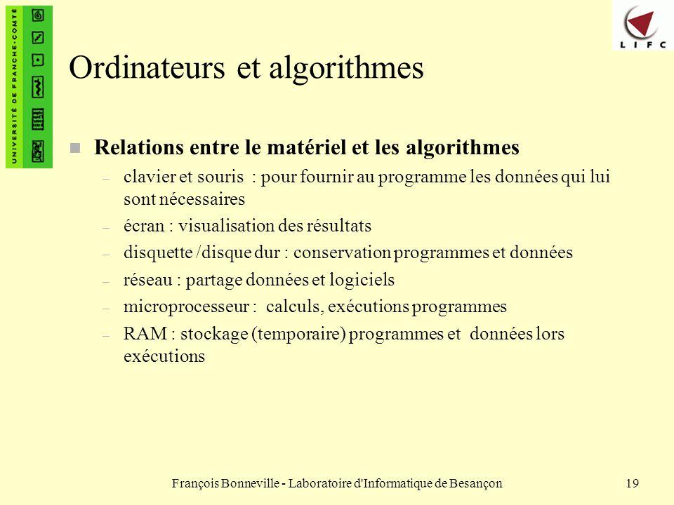 Ordinateurs et algorithmes