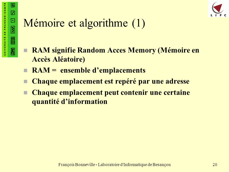 Mémoire et algorithme (1)