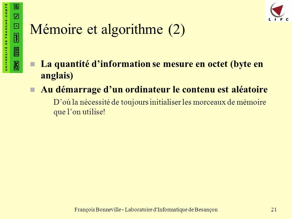 Mémoire et algorithme (2)