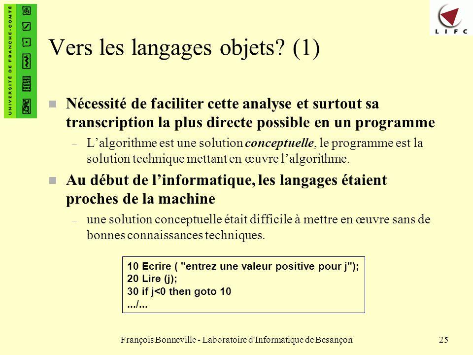Vers les langages objets (1)