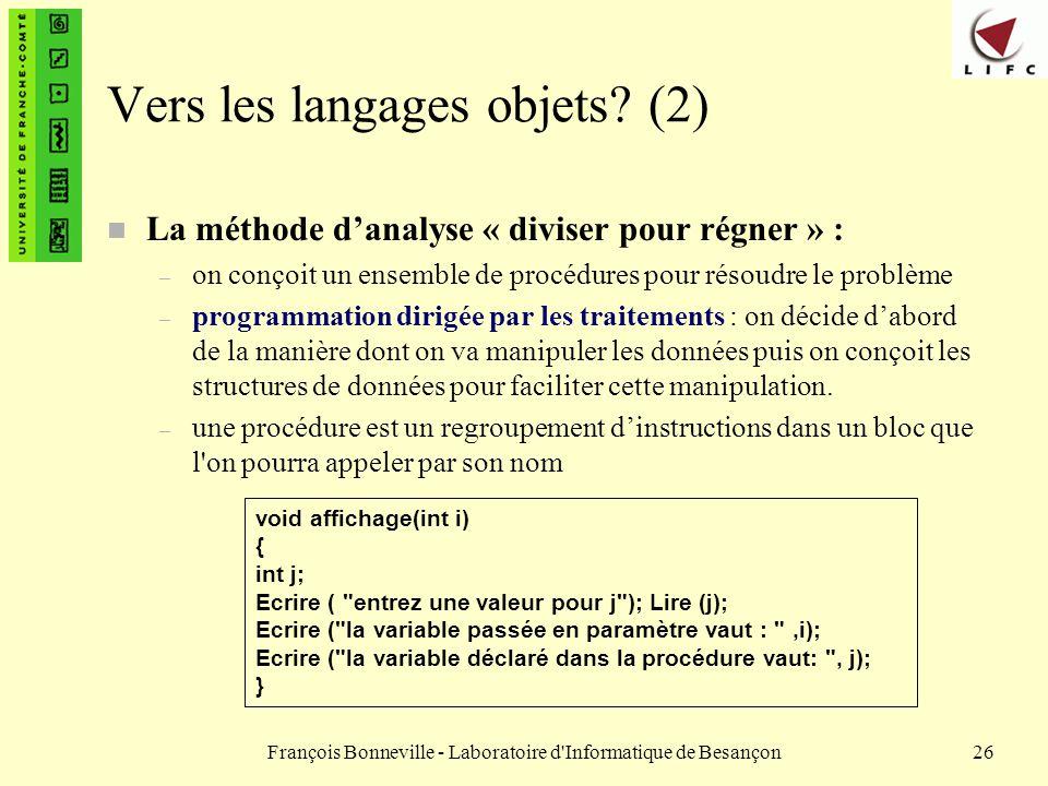 Vers les langages objets (2)