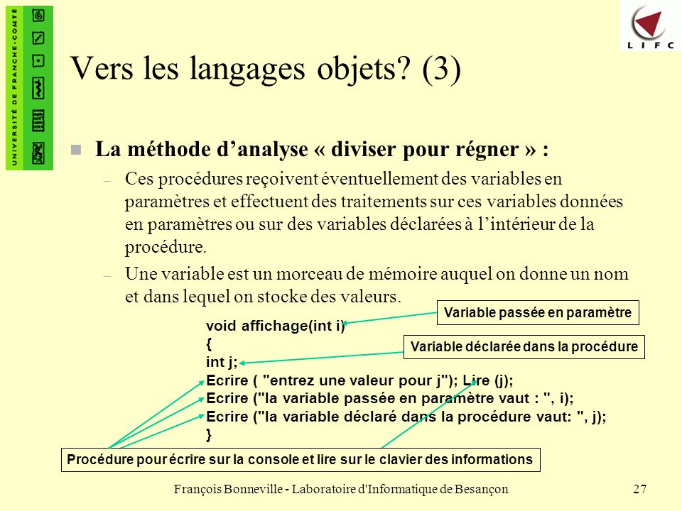 Vers les langages objets (3)