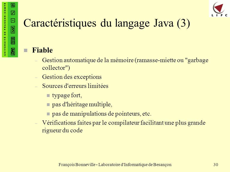 Caractéristiques du langage Java (3)