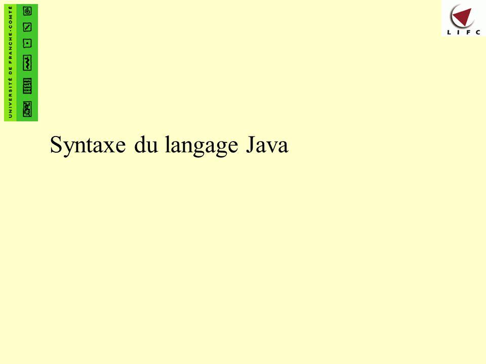Syntaxe du langage Java