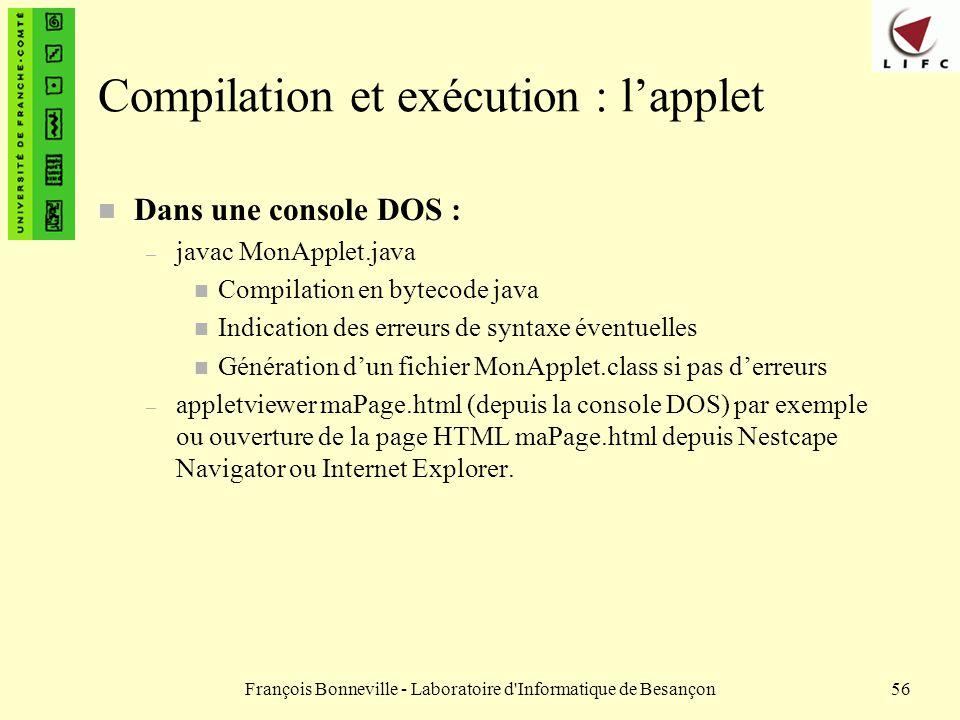 Compilation et exécution : l'applet