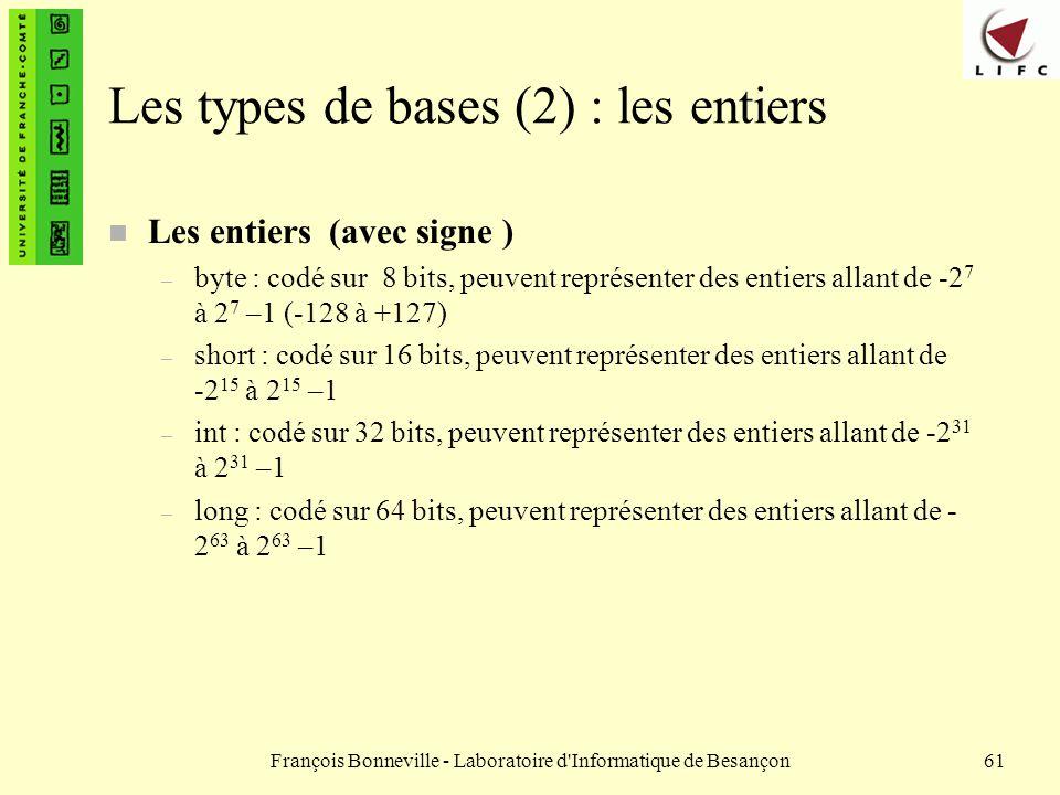 Les types de bases (2) : les entiers