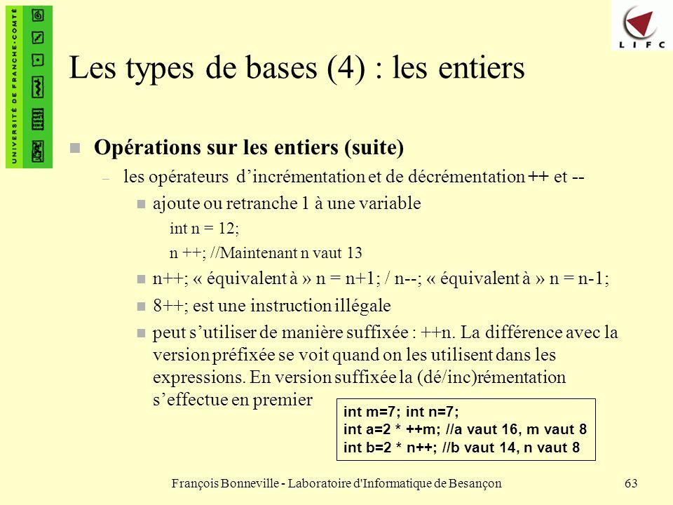 Les types de bases (4) : les entiers