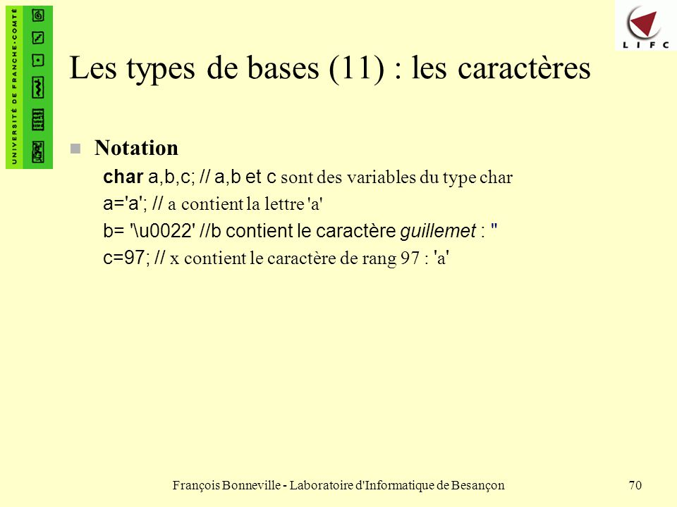 Les types de bases (11) : les caractères