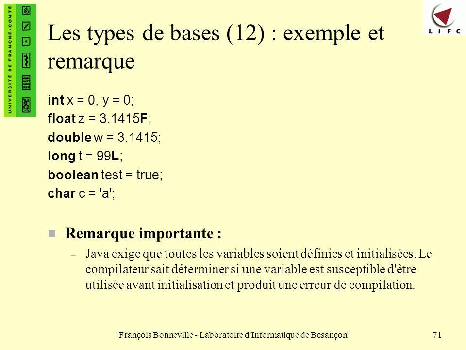 Les types de bases (12) : exemple et remarque
