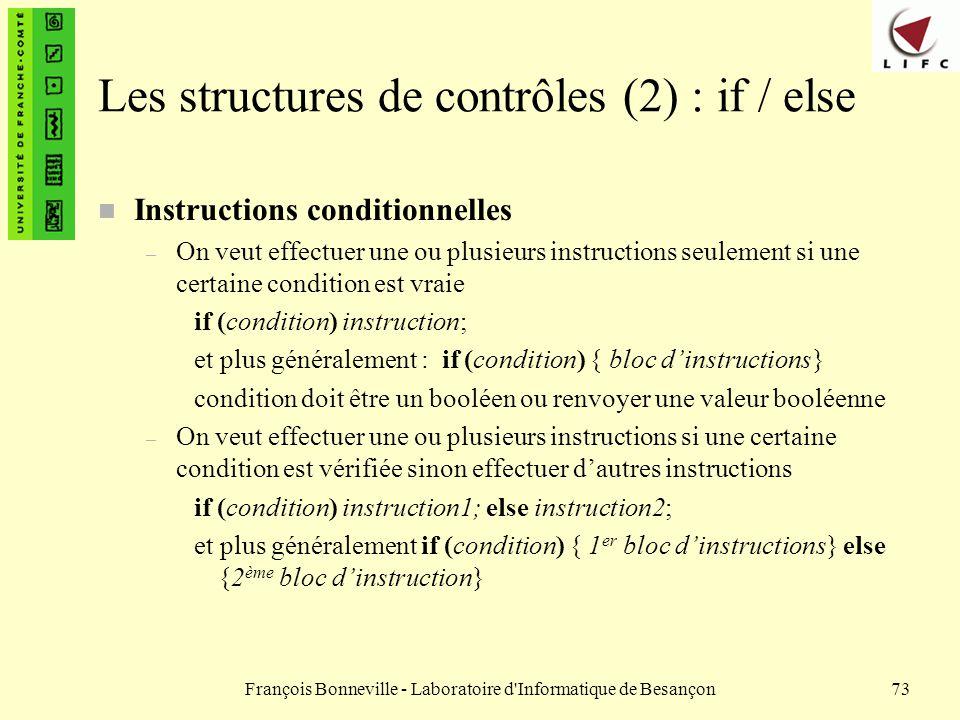 Les structures de contrôles (2) : if / else