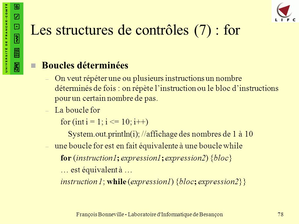 Les structures de contrôles (7) : for