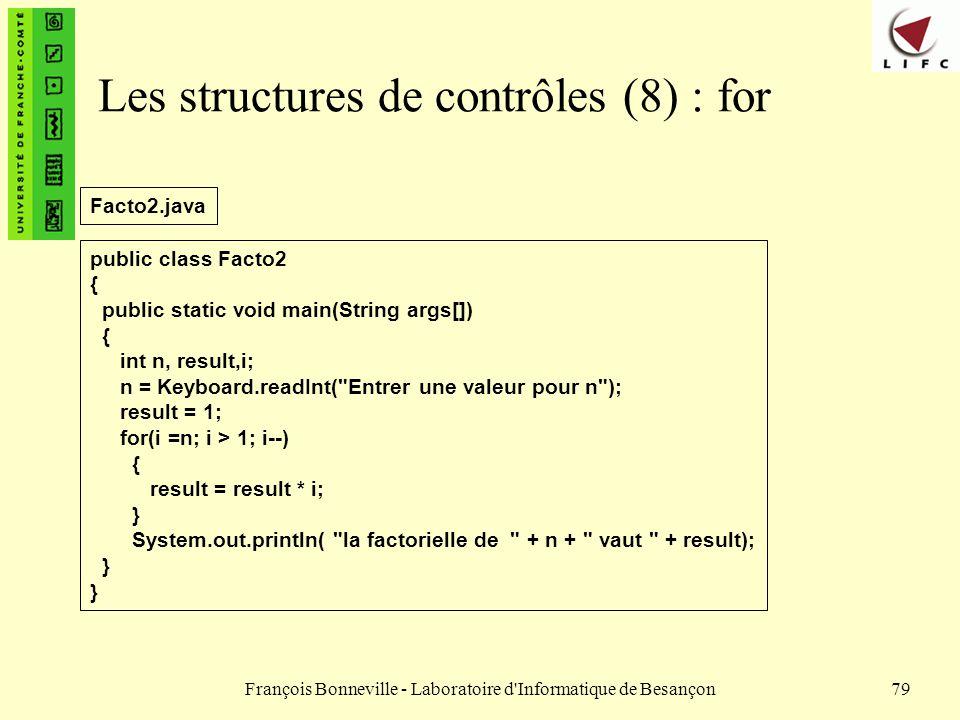Les structures de contrôles (8) : for