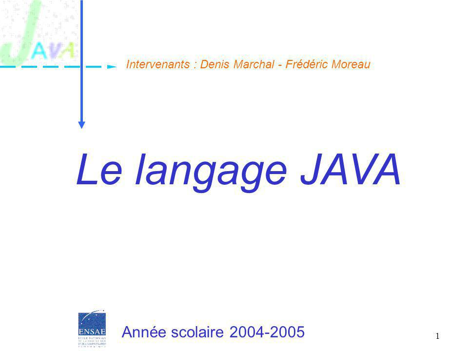 Le langage JAVA Année scolaire 2004-2005
