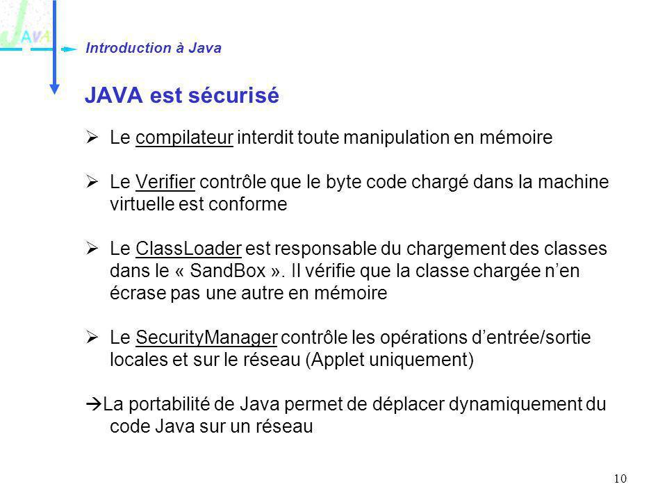 Introduction à Java JAVA est sécurisé